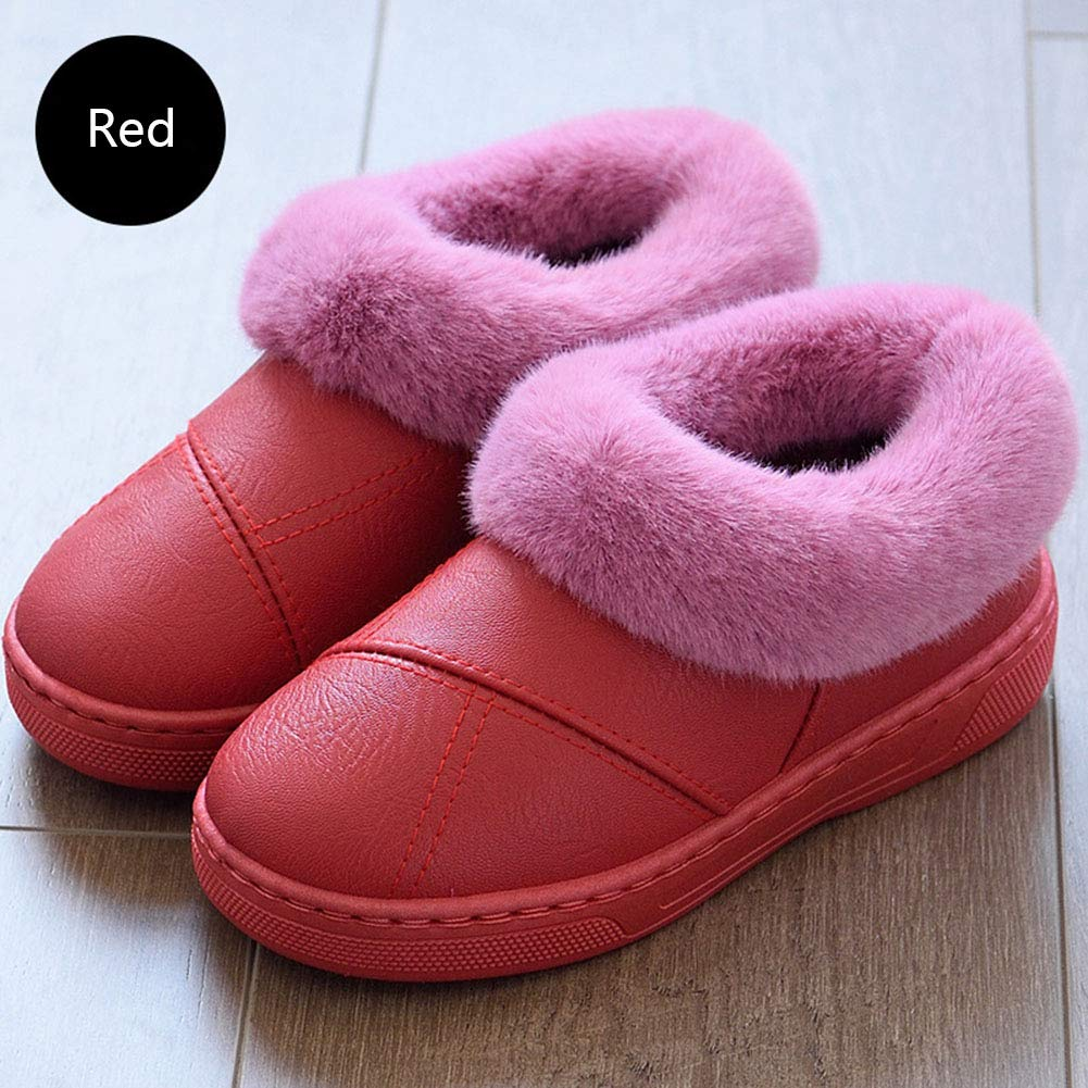 SUPERCB Women Men Leater Cotton Slip On Memory Foam Slippers House Home Shoes Indoor Outdoor