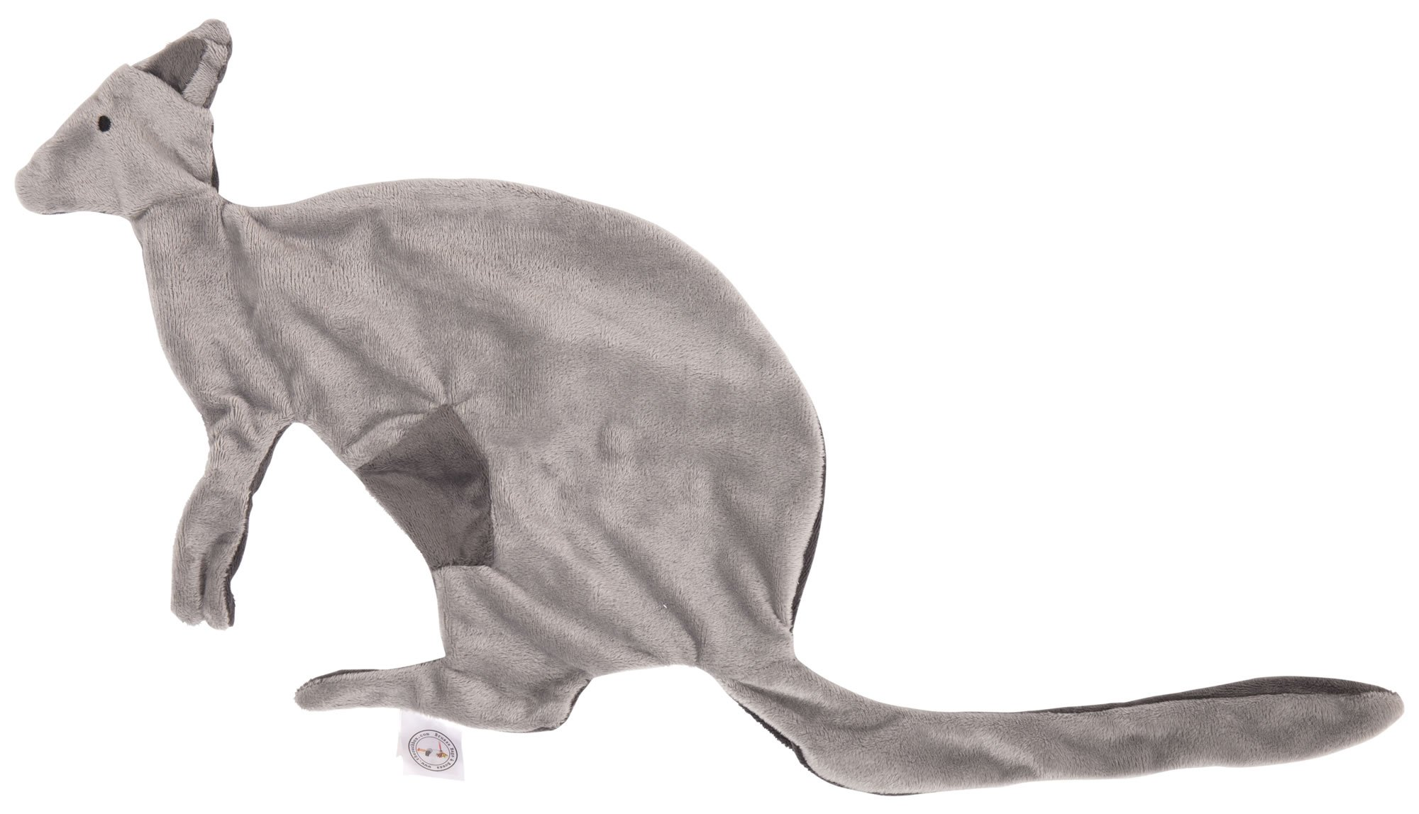"Brusse Bags & Boxes My Blankie Soft Security Blanket Kangaroo Super Cute Double Sided Light/Dark Grey 100% Polyester Fleece 60 x 28cm/23 x 11"" Unisex Newborn Comforter Tail Attaches to Dummy/Pacifier"