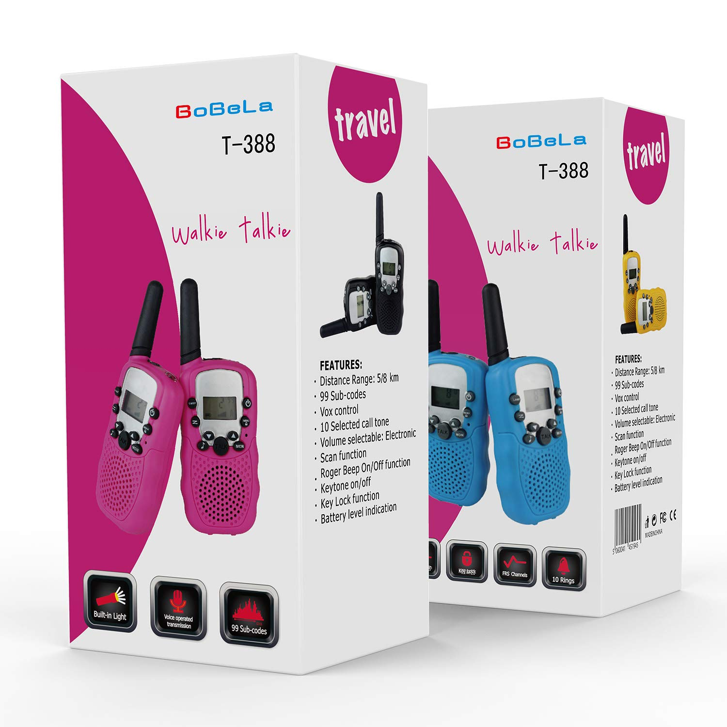 Bobela Walkie-Talkies 4 Pack for Adults Travel - T-388 Black Handheld Walky-Talky with Flashlight for Parents Kids - 2-Way-Radio with Mic PTT Clip Long Range for Baby Teen Boy Girl Him Family as Gifts by Bobela (Image #8)