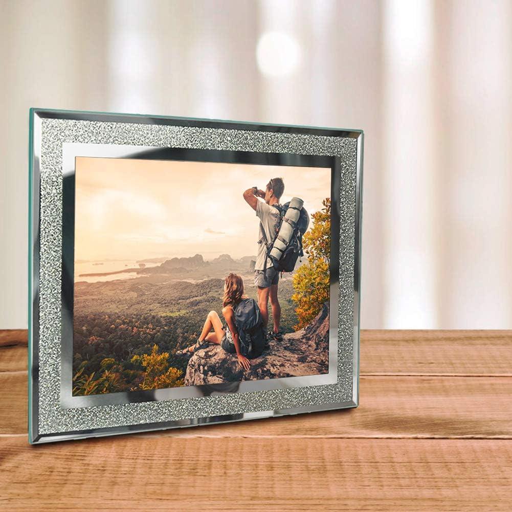 Umi by Lot de 2 Cadres Photo en Verre 9x13 cm Cadre /à Poser D/écoration pour la Maison D/écor No/ël Mariage,Finition Paillet/ée