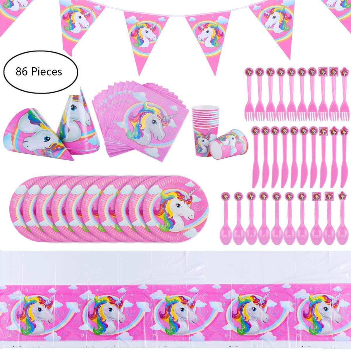 145 Pcs Unicorn Party Supplies Set Decorations Birthday Gifts for Girls Kids Birthday Banner Pink Decor Purple Party Napkin, invitation card, hat and many more (Set of 16) Dailymall