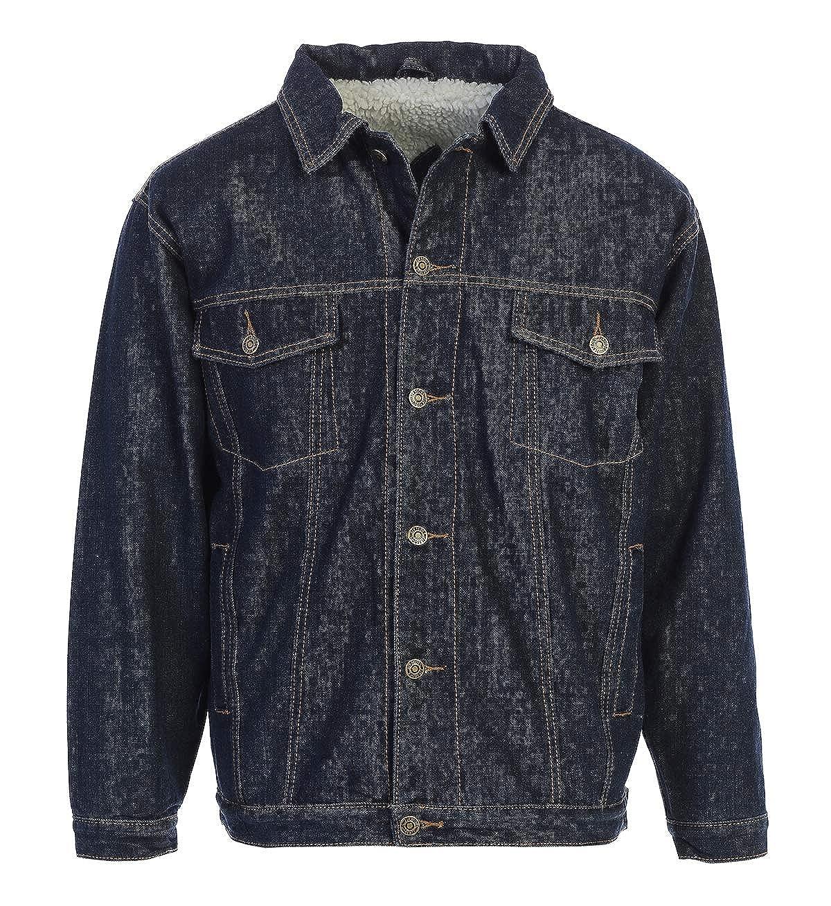 Platoon Men's Classic Sherpa Lined Trucker Denim Jean Jacket Coat