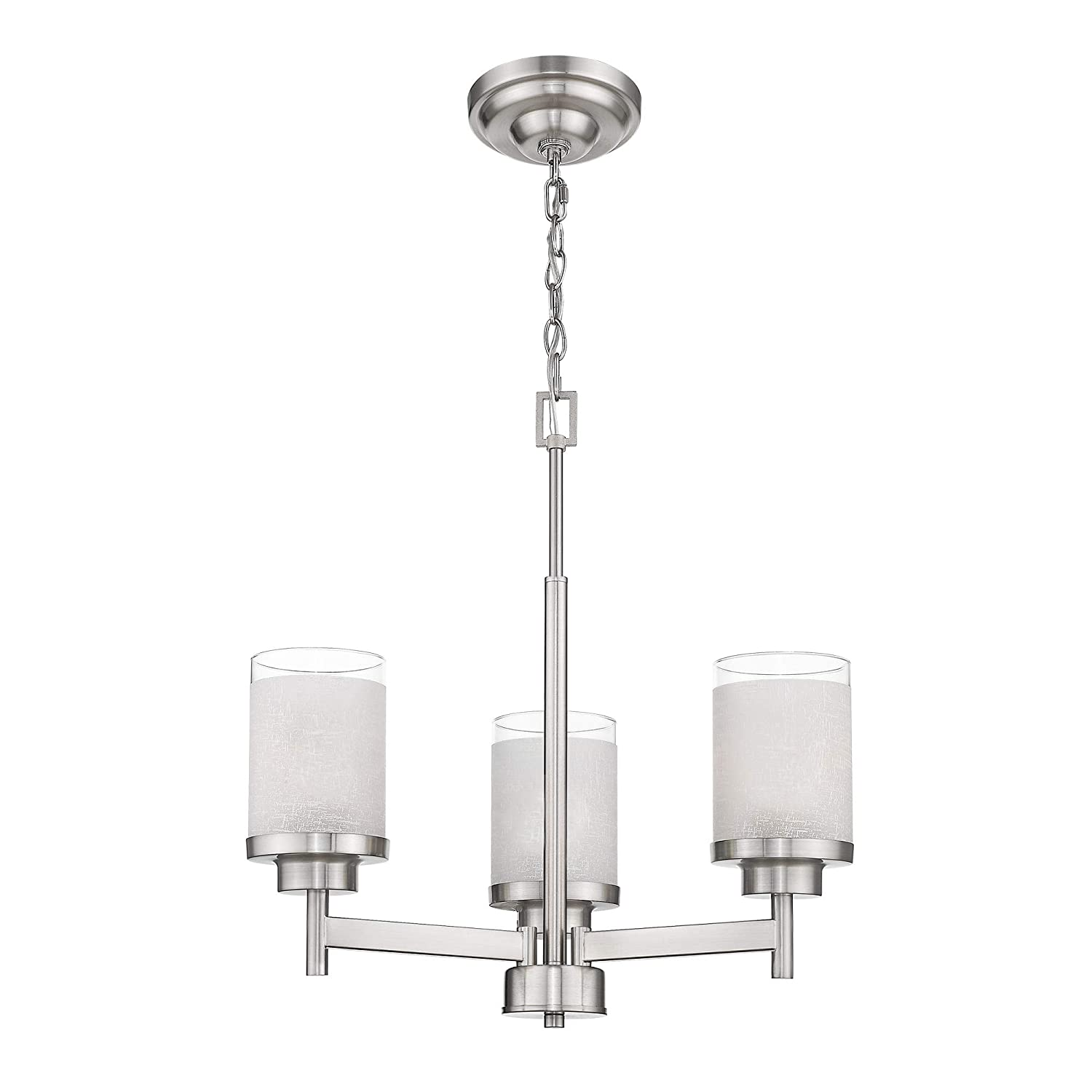 Jazava 3-Light Island Pendants, Modern Kitchen Chandelier Light, Industrial Hanging Light Fixture for Farmhouse, Brushed Nickel with White Linen Frosted Glass Shades for Farmhouse, Dinning Room