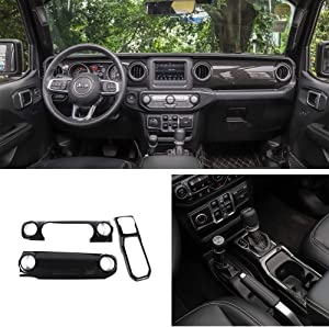 Bestmotoring Carbon Fiber Car Center Console Cover Trim,Dashboard Decorative Cover,Gear Shift Panel Cover for Jeep Wrangler JL 2018-2019
