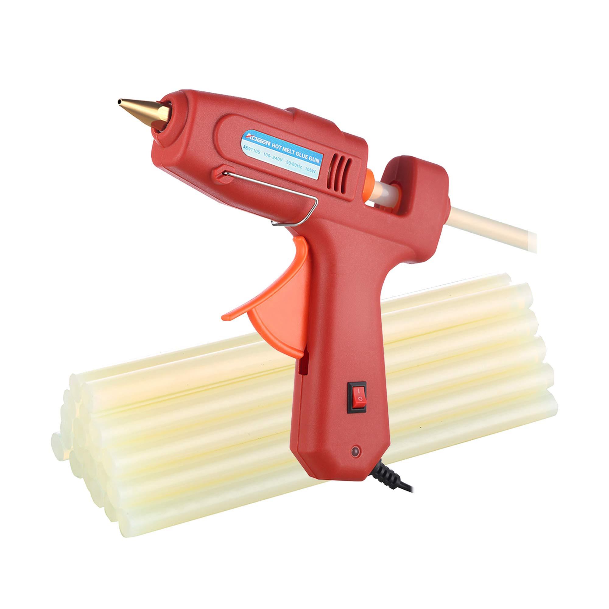 Hot Glue Gun, AOBEN Mini Craft Melt Glue Gun Kit with 20pcs Glue Sticks for DIY Small Craft Projects, Arts, Sealing and Quick Repairs, Red (105W)