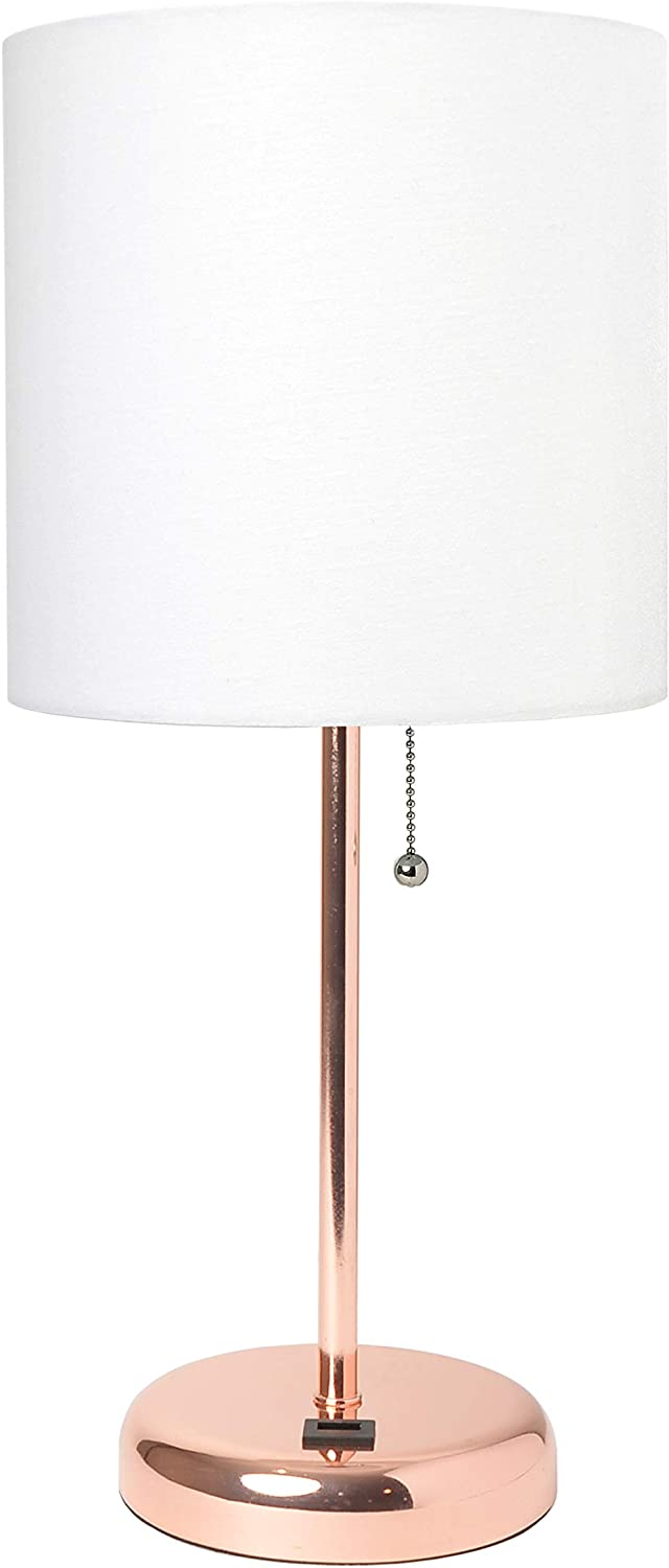 Limelights LT2044-RGD Rose Gold Stick USB Charging Port and White Fabric Shade Table Lamp