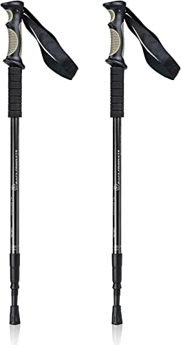 Bafx Products 1 Pair 2 Poles Adjustable Anti Shock Strong Lightweight Aluminum Hiking Poles for Walking or Trekking