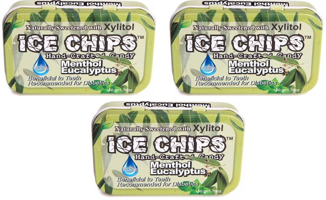ICE CHIPS Xylitol Candy Tins (Menthol Eucalyptus, 3 Pack)