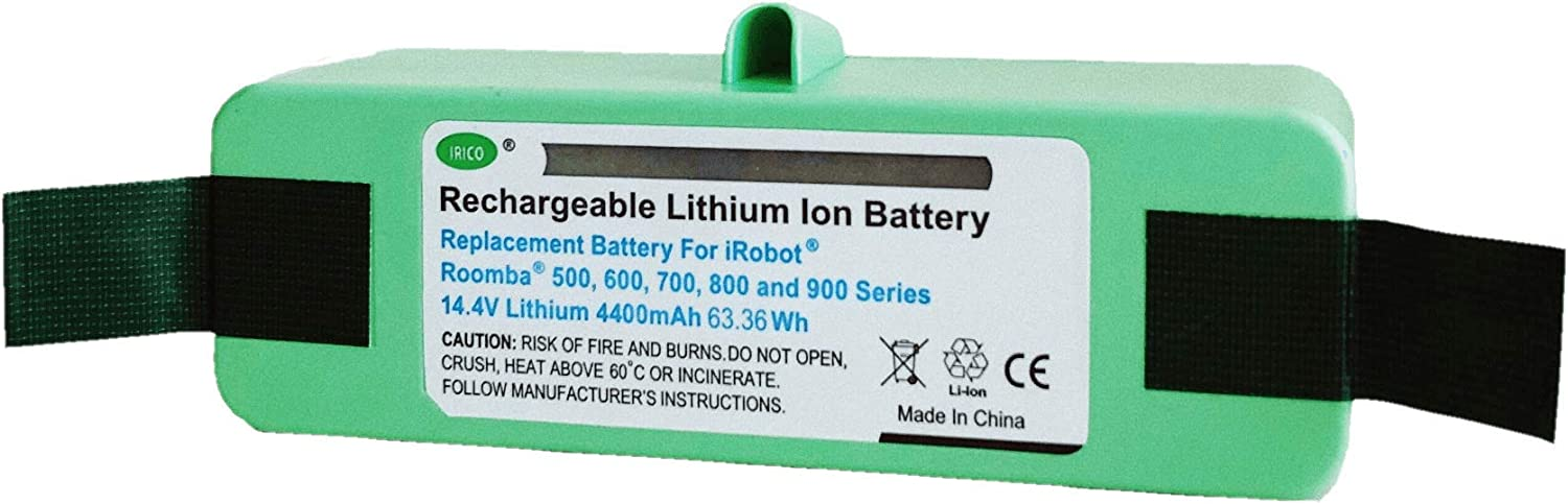 IRICO iRobot Roomba Replacement Battery Lithium 4800 mAh (Upgraded Cell) for Roomba 500 600 700 800 900 Series   iRobot Roomba Battery Replacement 960 890 880 870 860 850 805 780 770 655 650 595