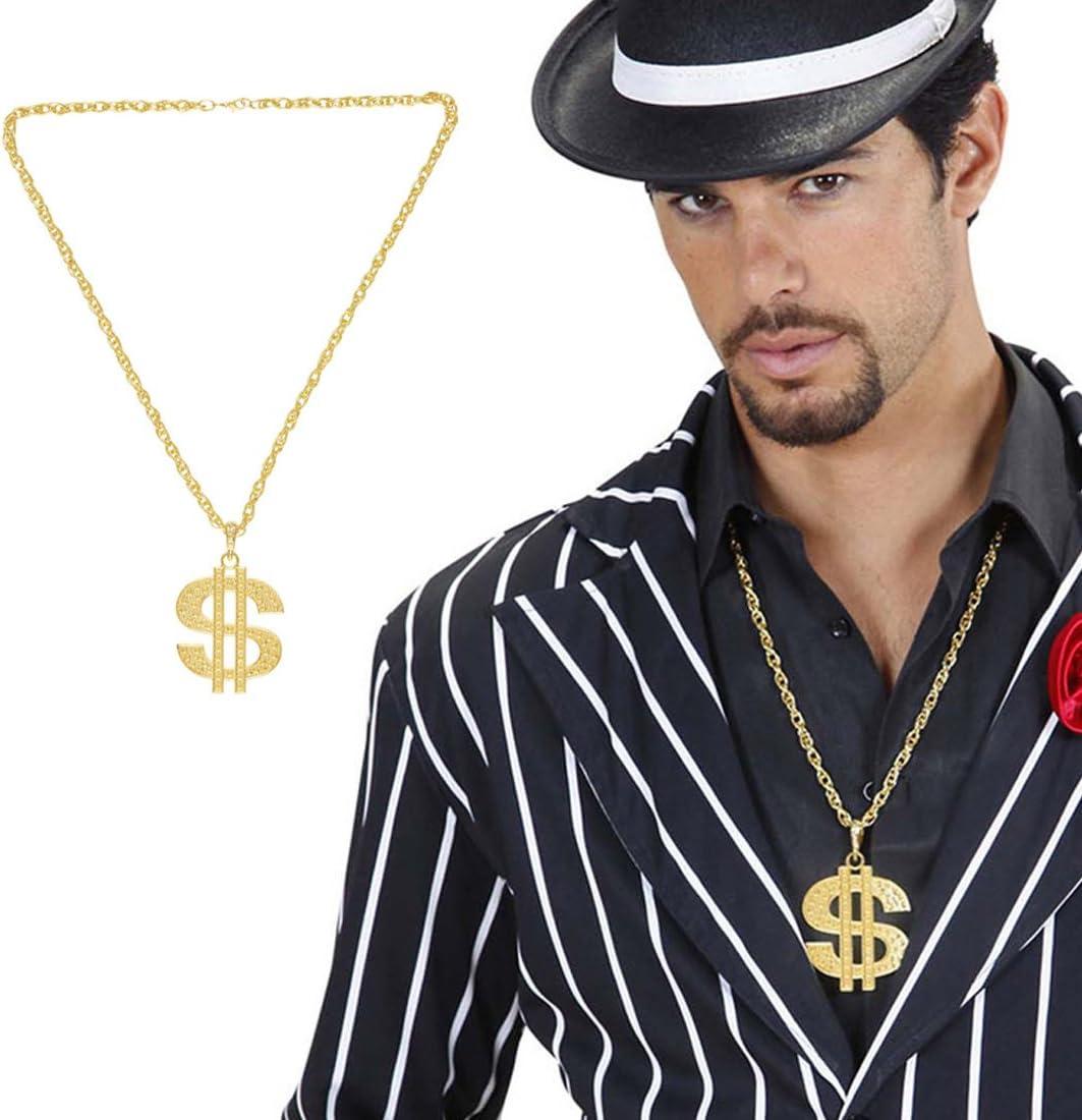 Dollar Médaillon Chaîne dorée pimp Gangsta Rappeur homme accessoire robe fantaisie