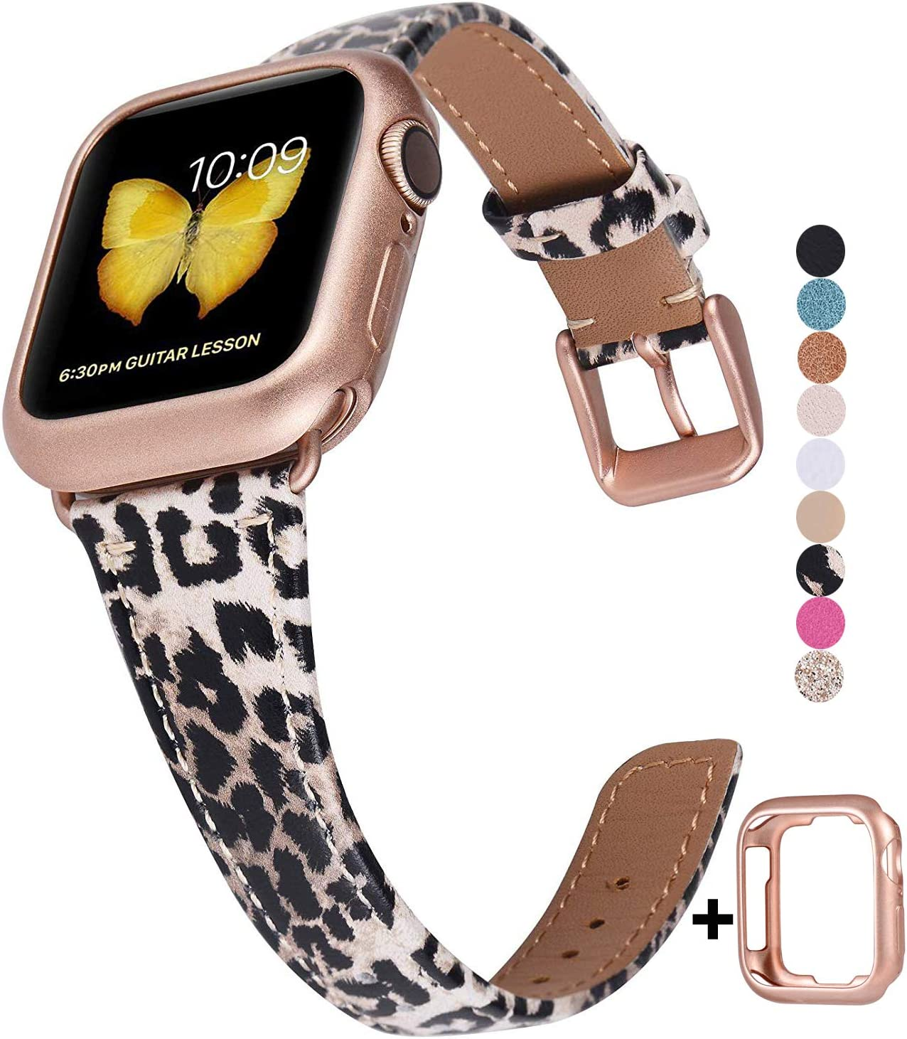 JSGJMY Genuine Leather Band Compatible with Apple Watch 38mm 40mm 42mm 44mm Women Slim Thin Strap for iWatch Series 5/4/3/2/1(Leopard with Series 5/4/3 Rose Gold Clasp,42mm/44mm S/M)