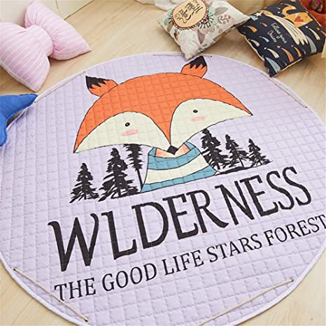 Forest Fox LISIBOOO Cartoon Kids Play Rugs,Toys Storage Organizer Cotton Large Floor Mat,for Baby Girl Boy Bedroom Living Room Nursery Children Crawling Blanket,5 Feet Round Carpet