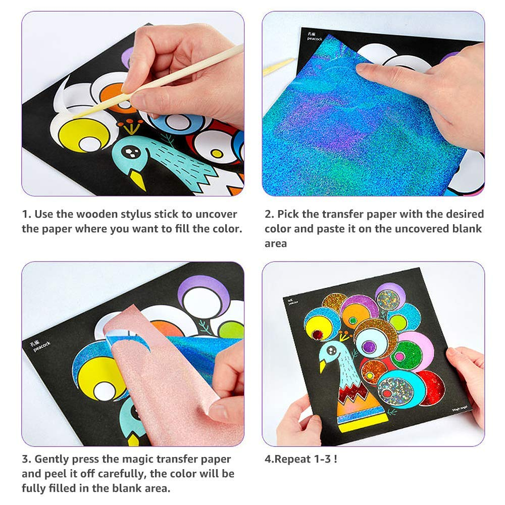 Pobec Transfer Sticker Set Shimmer And Shine Sparkle Mosaic Sticker Painting Art Sticky Diy Handmade Arts And Crafts For Kids Cartoon Kindergarten Educational Crafts Toys Arts Crafts Stickers