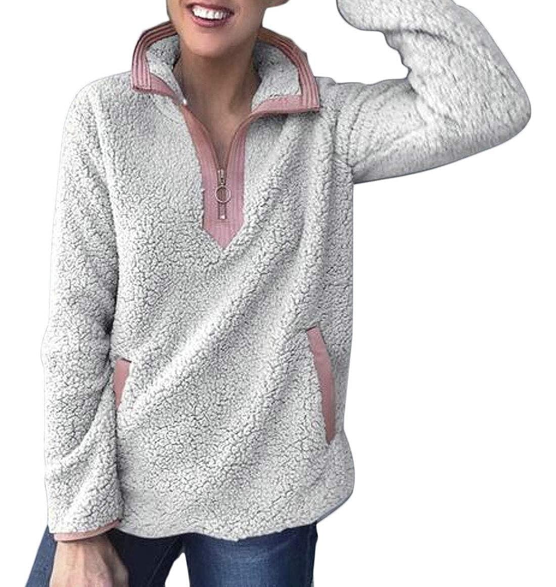 XQS Women Long Sleeve 1//4 Zipper Sherpa Fleece Sweatshirt Blouse Tops