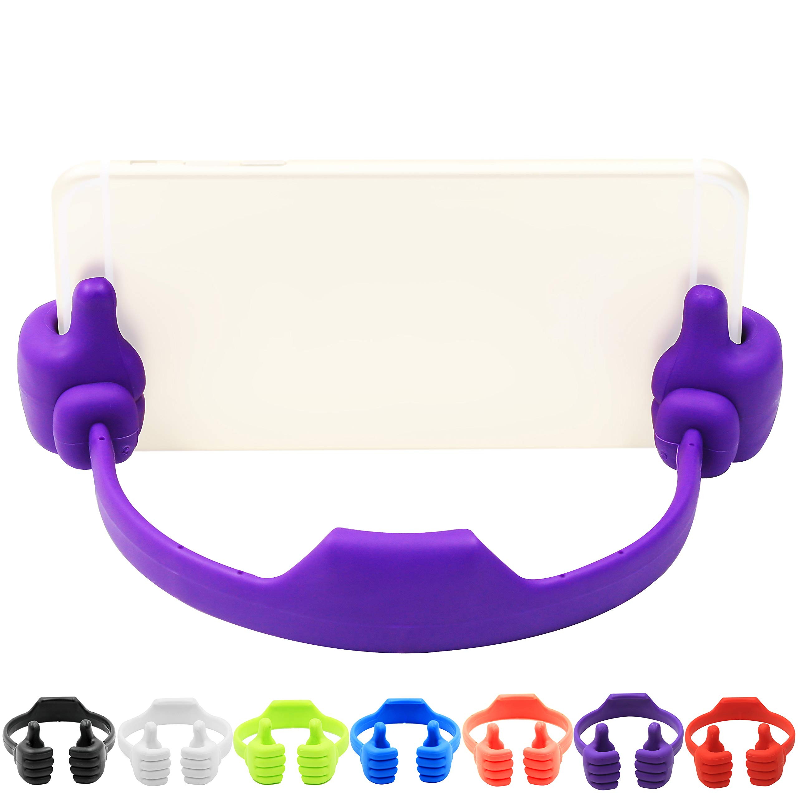 7Pack Thumbs-up Cell Phone Stand, Honsky Universal Flexible Multi-angle Cute Desk Desktop Phone Holder, Compatible with iPhone iPad Samsung Android Switch Nintendo Tablet, Assorted Colors, Bundle