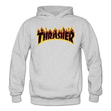 60b49100f068 Amazon.com  Liying Women s Thrasher Magazine Flame Logo Hooded  SweatshirtsLong Sleeve S  Clothing