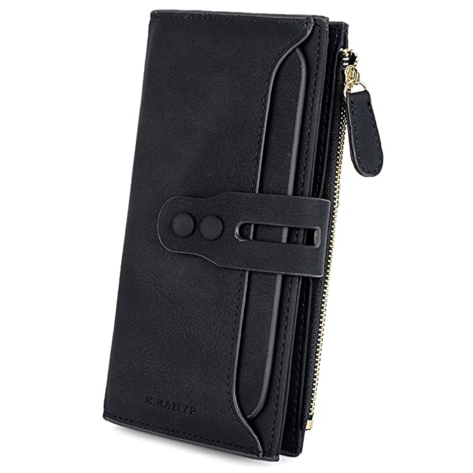b7855aee9a01 UTO Women's PU Matte Leather Large Capacity Wallet Card Phone Holder  Organizer Coin Purse with Snap Closure