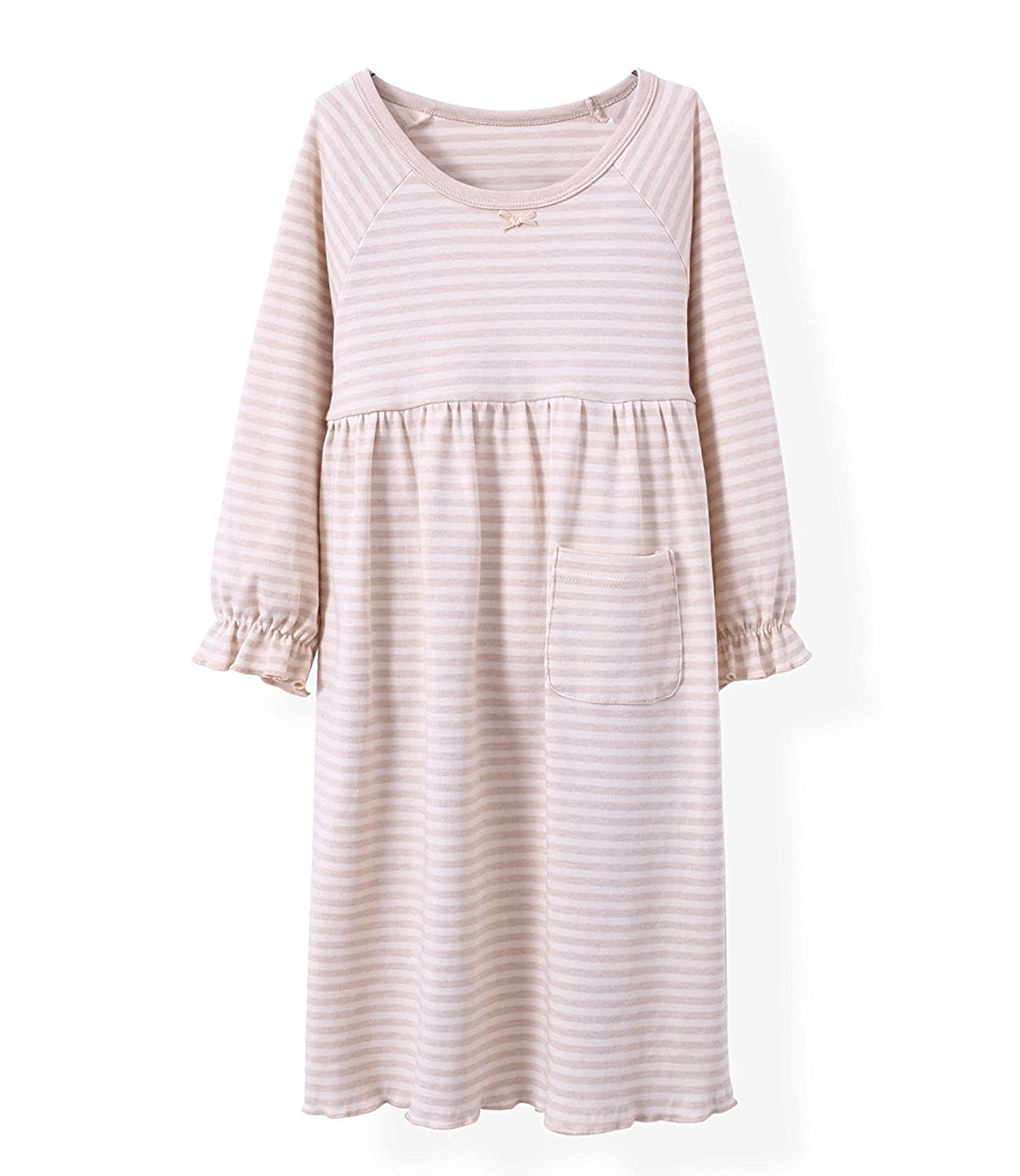 Spring Girls' Stripes Nightgowns Pure Cotton Sleep Dresses Cotton Sleepwear