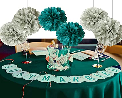 Amazon furuix 8pcs grey mixed teal tissue paper pom pom baby furuix 8pcs grey mixed teal tissue paper pom pom baby shower decorations flower ball home outdoor junglespirit Choice Image