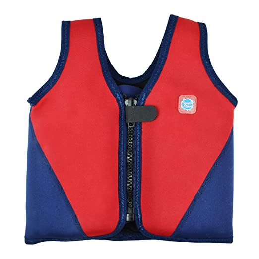 Splash About Neoprene Float Jacket with adjustable buoyancy (swimming aid), Red & Navy