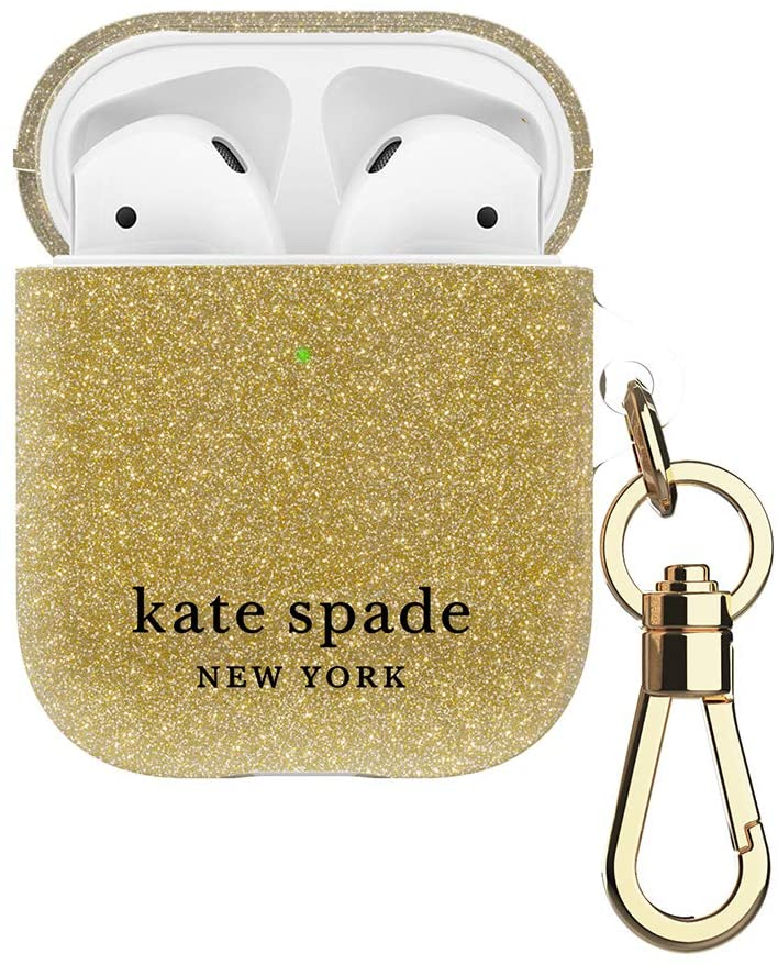 kate spade new york Gold Glitter Case for AirPods 2 & 1 - Protective Wireless Charging Cover with Keychain (Front LED Visible)