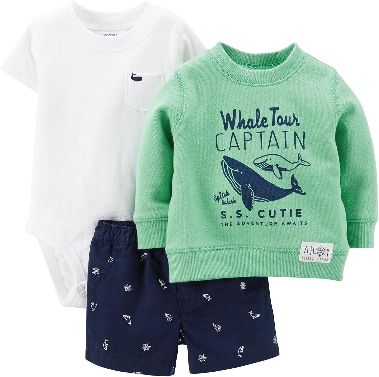 Carters Baby Boys 3 Piece Short Set Whale Tour Captain