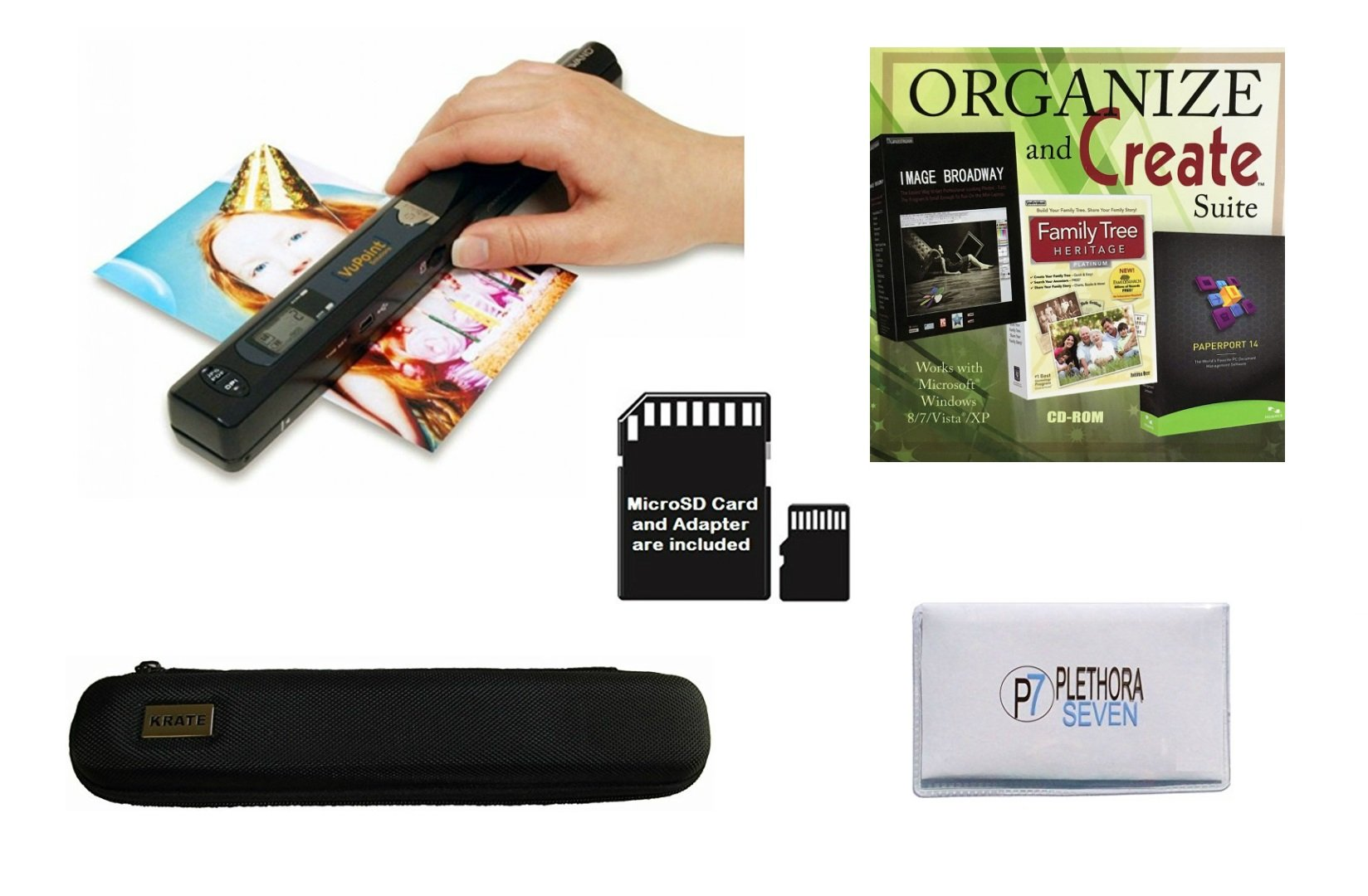 VuPoint ST415 Handheld Magic Wand Portable Scanner Kit for Document & Image with Protective Carrying Case, 8GB Micro SD Card, Bonus Software Suite (PaperPort 14, Image Broadway, Family Tree Heritage)