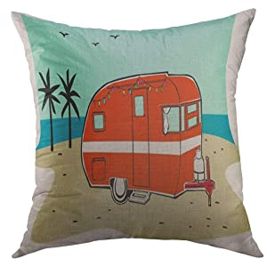 Mugod Decorative Throw Pillow Cover Couch Sofa,Blue Camper Retro Happy Hippie Vintage Tiki Beach Travel Trailer Red Van 50S Home Decor Pillow case 18x18 inch