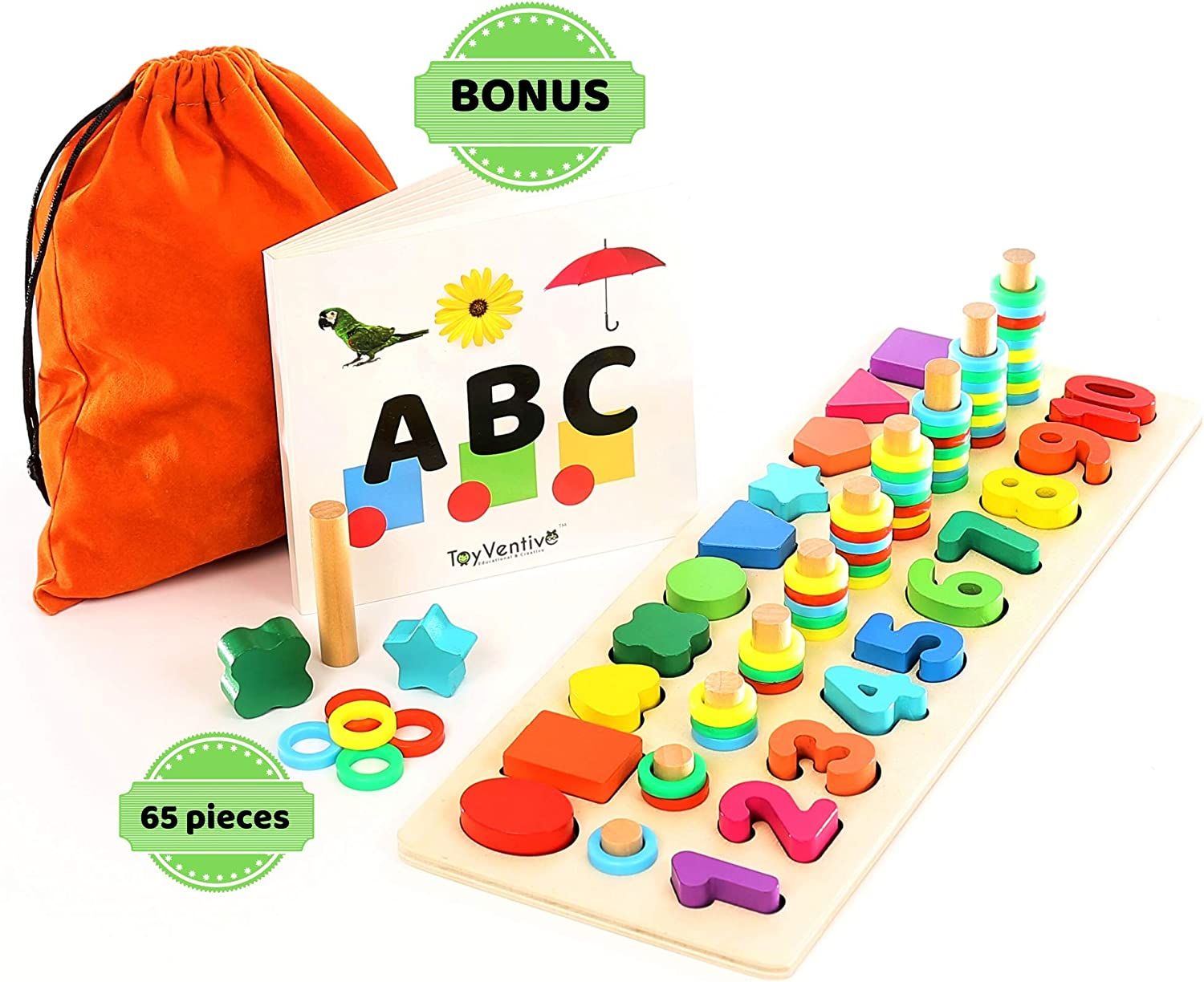 Montessori Round Shapes Puzzle Learning Educational Preschool Kids Toys Wooden