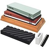 Knife Sharpening Stone Set - 4 Side Grit 400/1000 and 3000/8000 Waterstone, AHNR Professional Knife Sharpener Whetstone Kit I