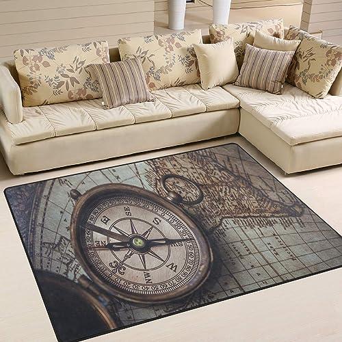 ALAZA Antique Compass Wind Rose Vintage Area Rug Rug