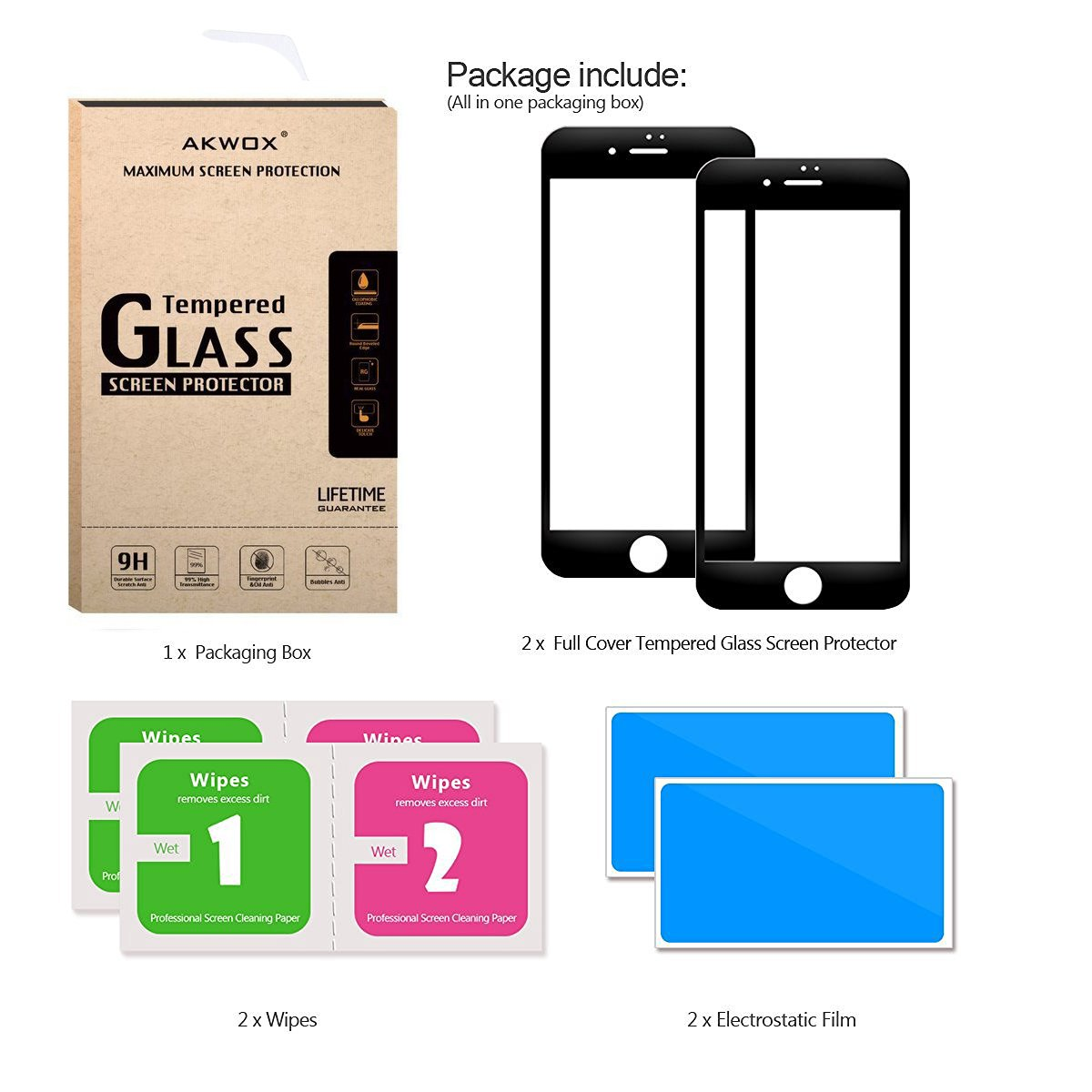 (Pack of 2) Screen Protector for iPhone 7 Plus 8 Plus, Akwox Full Cover iPhone 7 Plus 8 Plus Tempered Glass Screen Protector with ABS Curved Edge Frame, Anti-Fingerprint (Black) by AKWOX (Image #6)