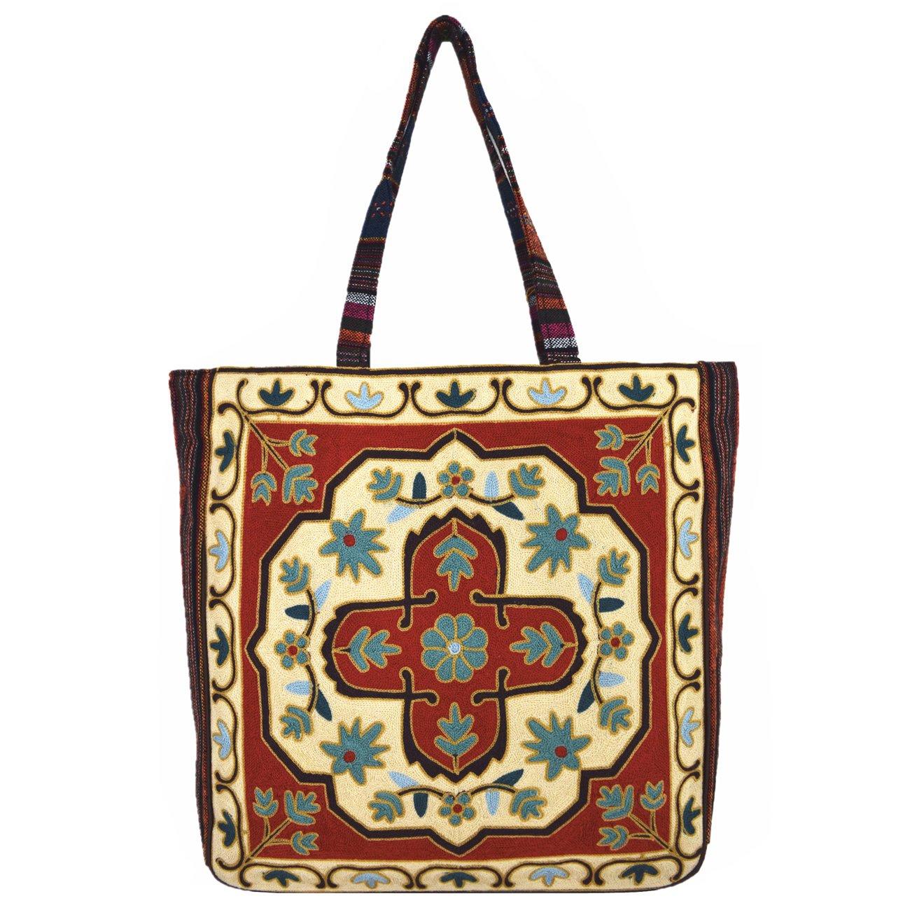 Vintage Bohemian Summer Embroidered Large Tote Bag Tapestry Shoulder Bag Women Handbag (Beige∨ange)