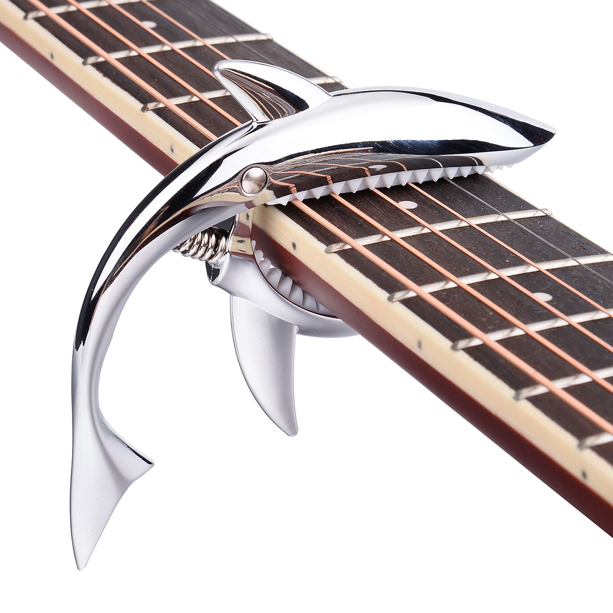 Bluesnow Shark Guitar Capo Zinc Alloy for Acoustic and Electric Guitar (Silver) B0A0B37SH