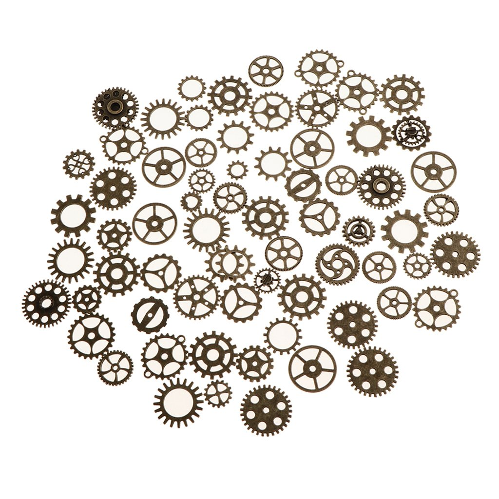 Homyl 5 Colors Pick 100g (Approx. 68pcs/Bag) Assorted Style Steampunk Gears Charms Pendant for DIY Necklace Earrings Bracelet Accessories