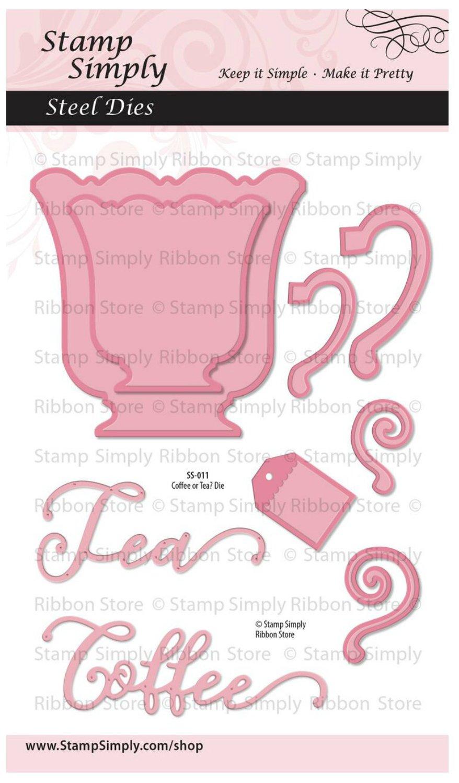 Stamp Simply Clear Stamps Coffee Cup or Tea Mug Steel Die Set 4x6 Inch Sheet - 9 Pieces