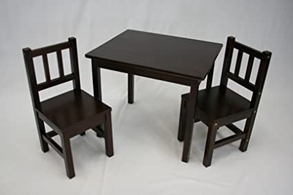 Captivating EHemco Kids Table And 2 Chairs Set Solid Hard Wood (Espresso)