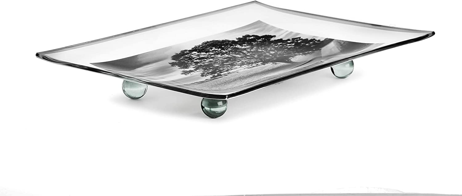 GAC Unique Landscape Design Rectangular Tempered Glass Serving Tray on Glass Ball Legs – 8x12 Inch – Break Resistant – Oven, Microwave, and Dishwasher Safe–Attractive Charcoal Colored Serving Platter