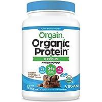 Orgain Organic Protein & Greens Plant Based Protein Powder, Creamy Chocolate Fudge, Vegan, Gluten Free, Non-GMO, 1.94 Lb…
