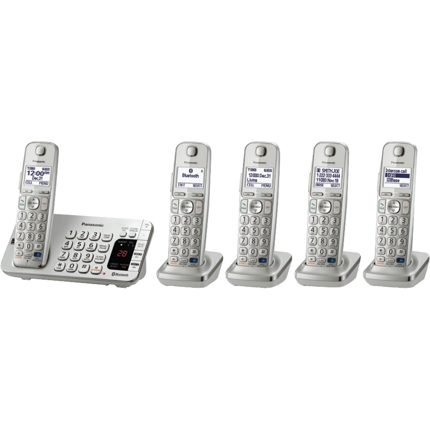 Panasonic Link2Cell Bluetooth (KX-TGE275S) 5 Handsets - Cordless Phone with Large Keypad, Silver