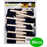 """conda 50 Pack 0.5""""-2"""" Different Size Assorted Foam Brush Set Wood Handle Paint Brush Set- Lightweight, Durable, Great for Acr"""