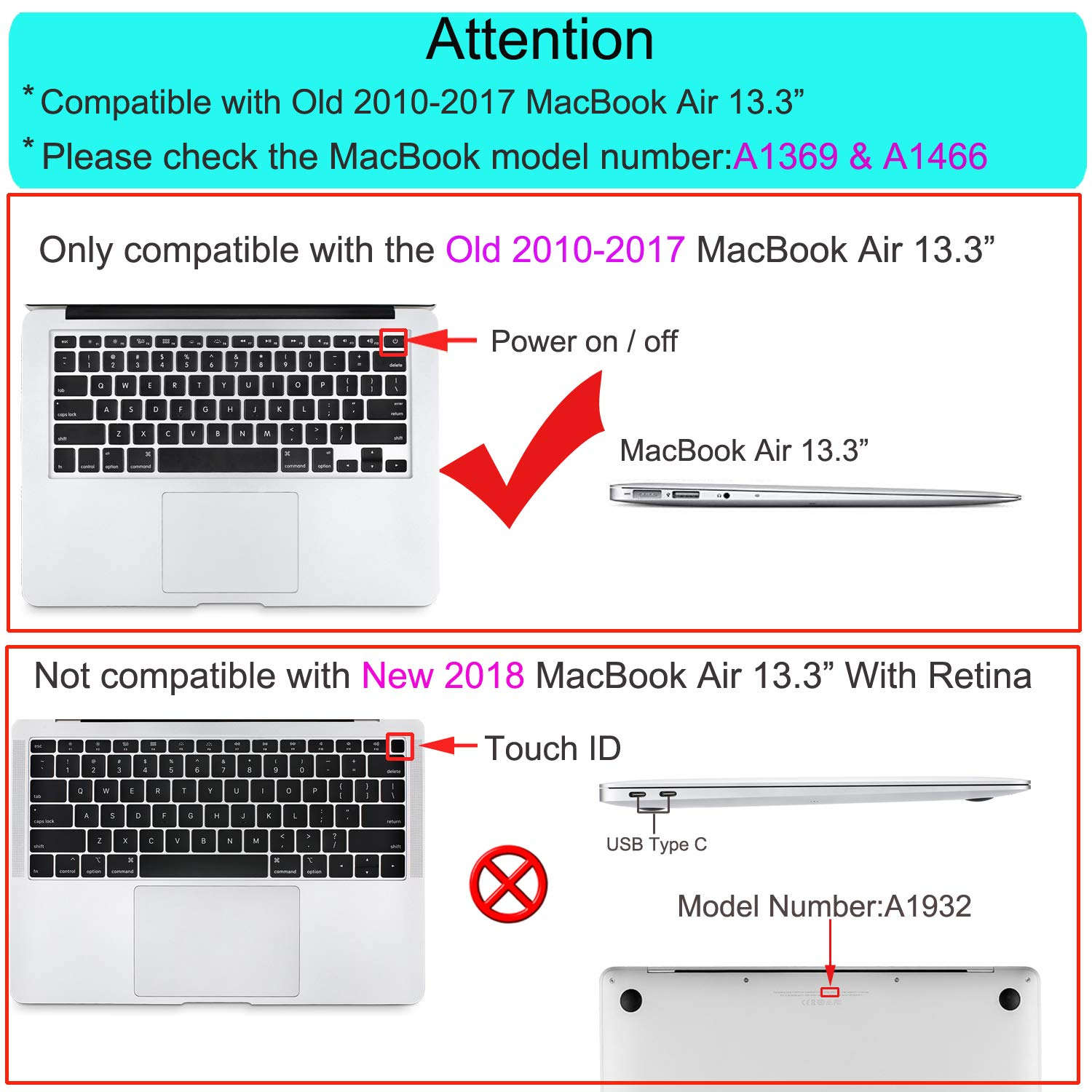MOSISO MacBook Air 13 Case (A1369 & A1466, Older Version 2010-2017 Release), Plastic Pattern Hard Case & Keyboard Cover & Screen Protector Only Compatible MacBook Air 13 Inch, World Map by MOSISO (Image #2)