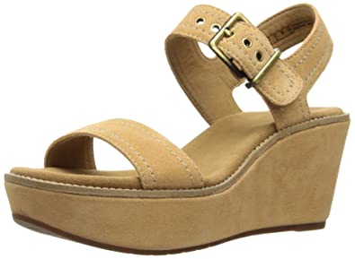 a88fb3c8c41f CLARKS Women s Aisley Orchid Wedge Sandal Light Tan Suede 9 ...
