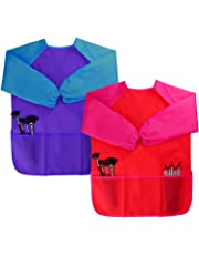 Dreampark 2 Pack Children Art Smock Kids Art Aprons with Waterproof Long Sleeve 3 Roomy Pockets , Ages 2-6 , Red and Blue (Paints and Brushes not Included)