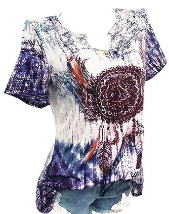 d73a5a80d3b58 LD Womens Slim Fit Short Sleeve Sexy Digital Printing V Neck T-Shirt ...