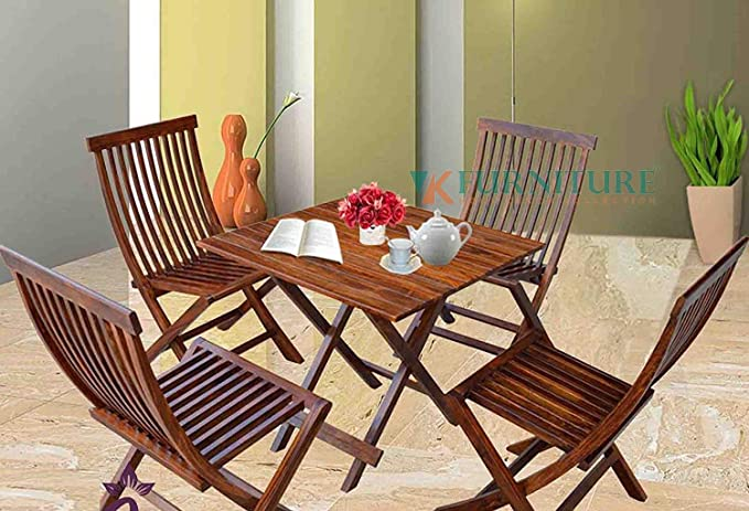 VK Furniture Sheesham Wood Foldable Patio Dining Set | for Balcony, Garden and Outdoor | 4 Chairs and Square Table | Brown