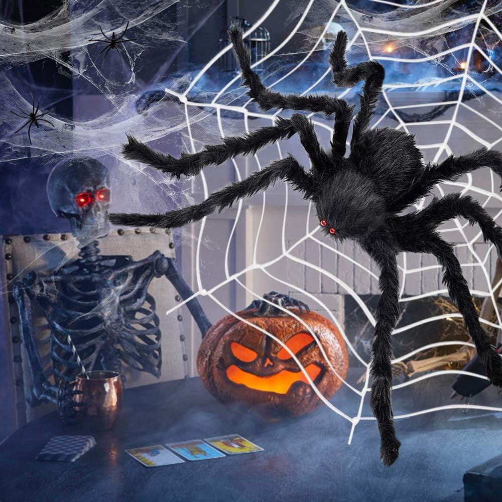 Giant Spider Halloween Decoration with Round Spider Web & Stretch Cobweb