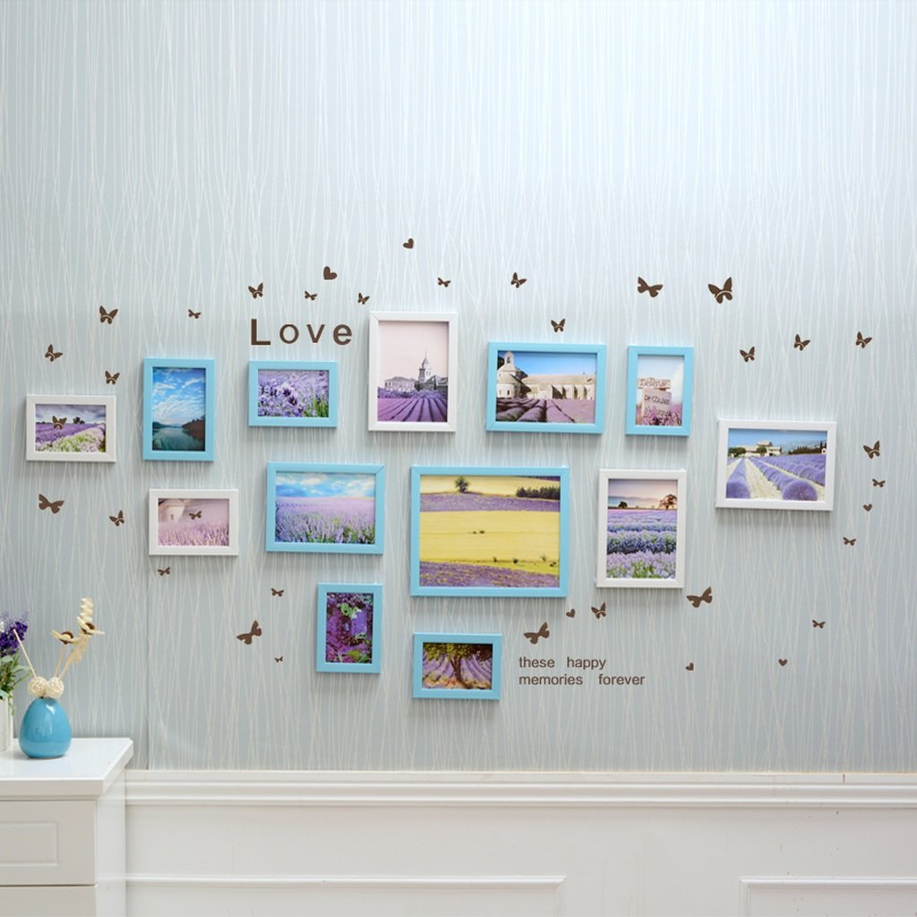 LQQGXL Bedroom decoration European 13 frames photo wall creative frame wall combination photo wall living room hanging Photo frame ( Color : White and blue )