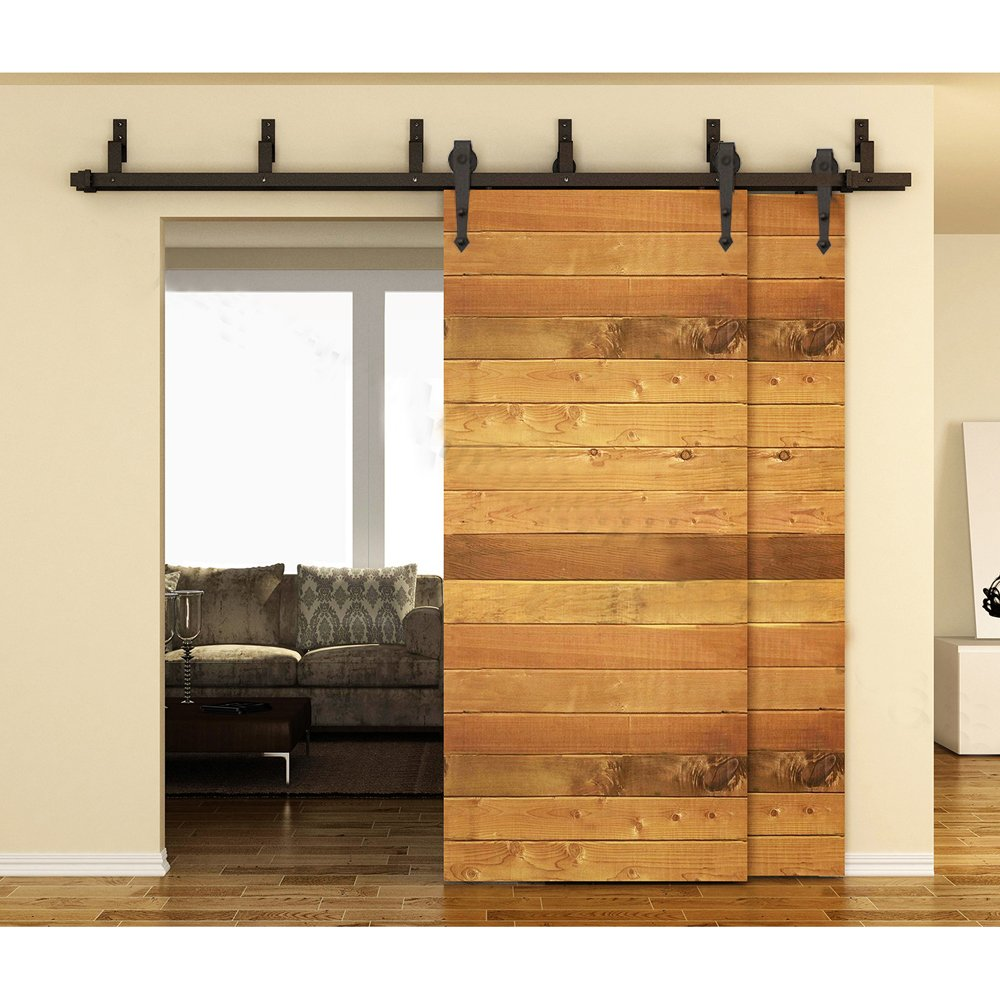Amazon.com: WINSOON Ship From USA 8FT Black Arrow Design Bypass Double Wood  Door Hardware Rustic Sliding Roller Barn Closet Track Kit Set: Home  Improvement