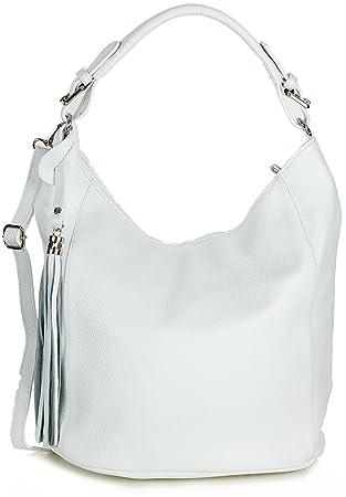 b8548229c8a1b Beuteltasche Leder weiß - XL Damen Schultertasche Handtasche aus Echtem  Leder groß (39 x 35